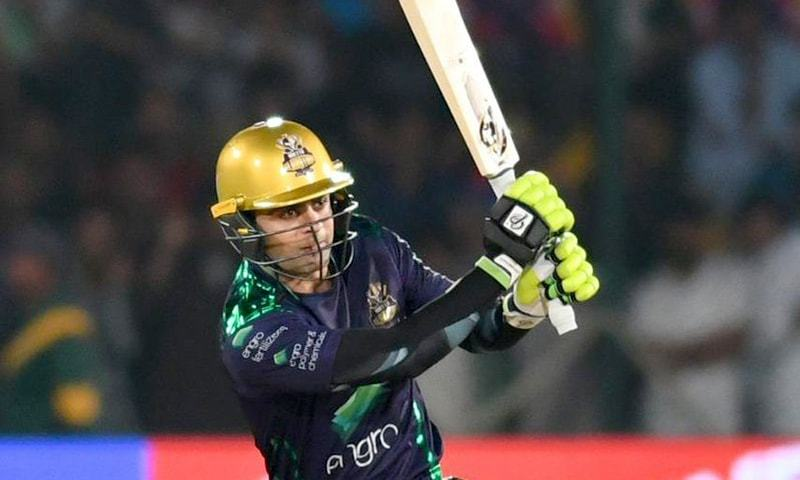 Ahmed Shehzad dominating the pitch with a barrage of boundaries. —PSL