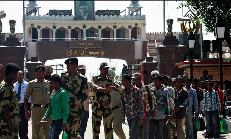Pakistan Rangers officers returned Ghulam Qadir to India at Wagah border crossing. — AFP  File