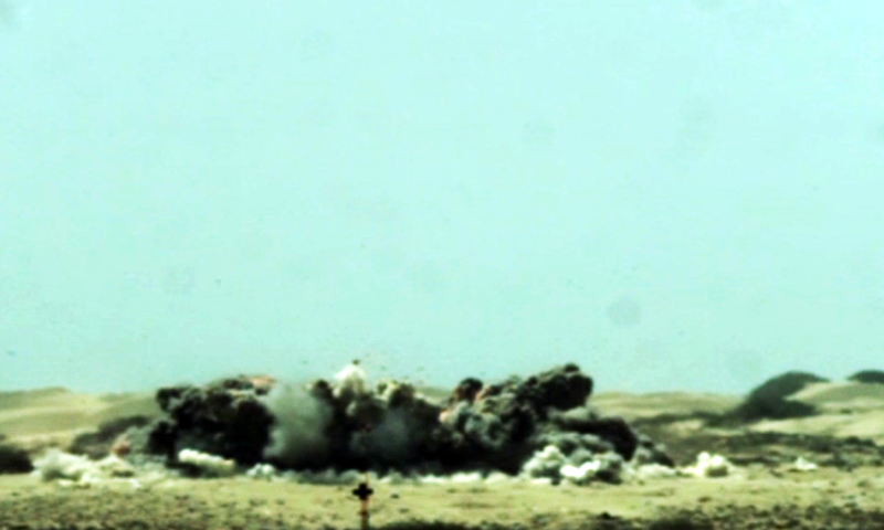 "A screengrab from footage shows the explosion following the firing of the ""weapon"". — PAF"