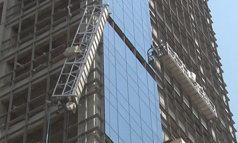 The under-construction high-rise in Clifton's Block 7 from where the six labourers fell .— DawnNewsTV