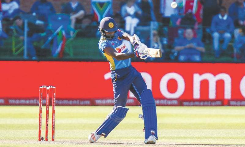 PORT ELIZABETH: Sri Lanka's Isuru Udana plays a shot during the fourth ODI against South Africa at St George's Park on Wednesday.—AFP