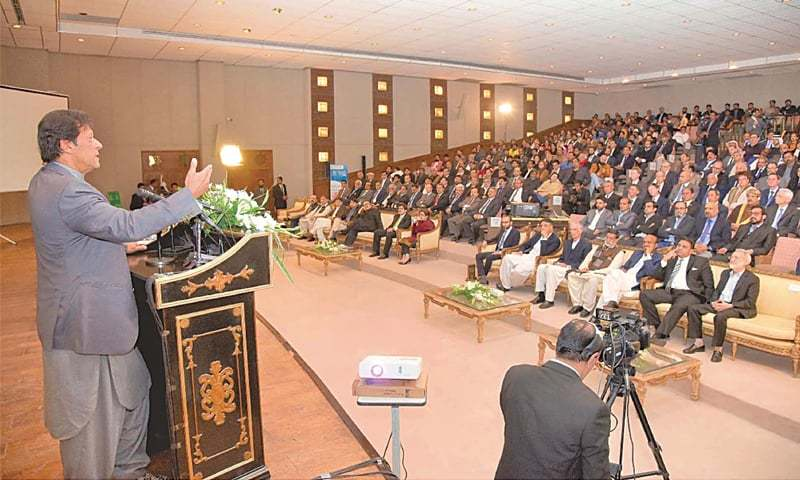 PRIME Minister Imran Khan addresses the ceremony at which the new visa policy was unveiled.—PPI