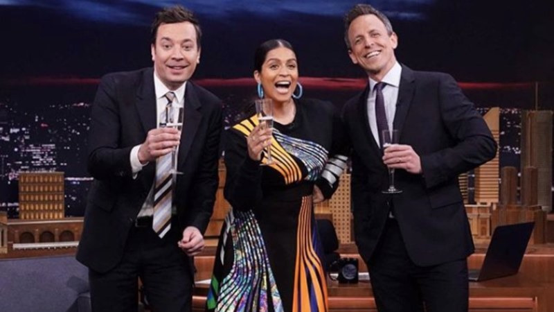 Pictured here with Jimmy Fallon and Seth Meyers