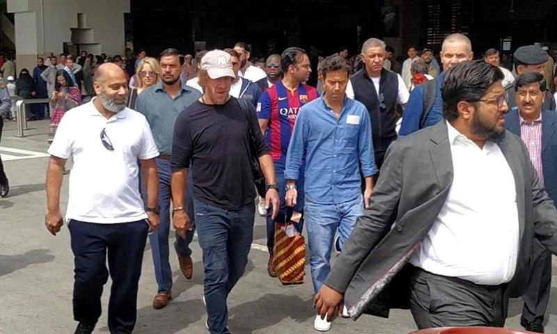 Carles Puyol, legendary Spain and Barcelona superstar, landed at Karachi's Jinnah International Airport. — Photo courtesy: author