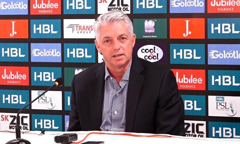 ICC chief executive David Richardson addresses a press conference at the  National Stadium Karachi on Sunday. — Photo by author