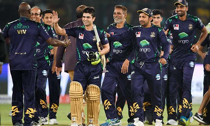 Quetta Gladiators celebrate their win over Peshawar Zalmi in the final match of Pakistan Super League (PSL) at the National Cricket Stadium in Karachi on March 17, 2019. —AFP