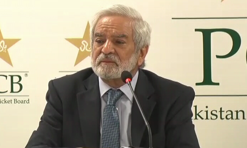 PCB Chairman Ehsan Mani address a press conference. — DawnNewsTV