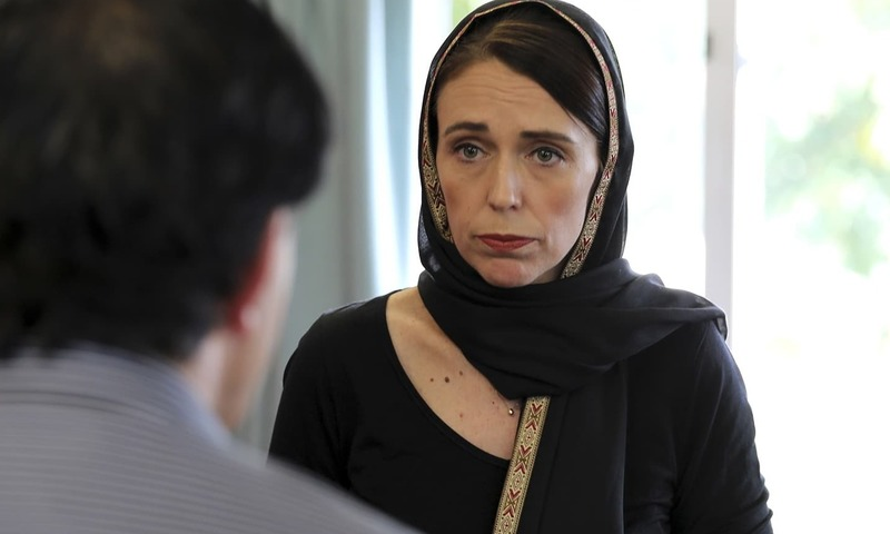 In this photo released by New Zealand Prime Minister's Office, Prime Minister Jacinda Ardern speaks to representatives of the Muslim community on March 16, 2019, at the Canterbury Refugee Centre in Christchurch, New Zealand. — AP