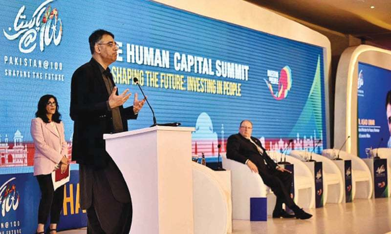 ISLAMABAD: Finance Minister Asad Umar is addressing inaugural session of Summit on 'Financing Human Capital Investments' on Tuesday.—APP