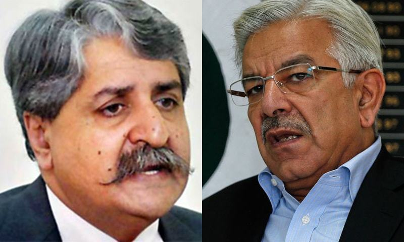 PPP's Naveed Qamar and PML-N's Khawaja Asif will appear before an accountability court on March 21. — Dawn.com