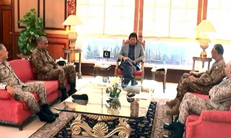 All three services chiefs and chairman Joint Chiefs of Staff called on Prime Minister Khan on Wednesday. — Photo courtesy Radio Pakistan