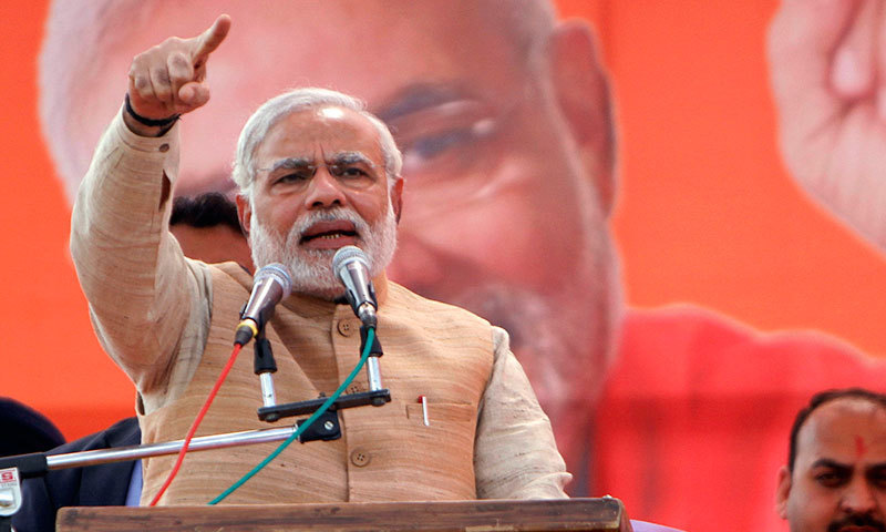 Bharatiya Janata Party (BJP) prime ministerial candidate Narendra Modi addresses an election campaign rally at Hiranagar 55 kilometres from Indian-occupied Jammu, Wednesday, March 26, 2014. AP/File