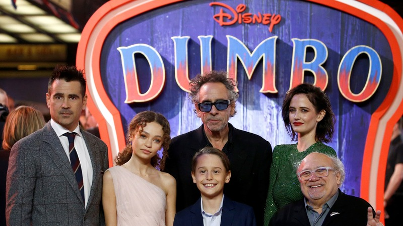 "Actor Colin Farrell, actor Nico Parker, director Tim Burton, actor Finley Hobbins, actor Eva Green and actor Danny DeVito attend the European premiere of ""Dumbo"" movie in London, March 21, 2019. — Reuters"