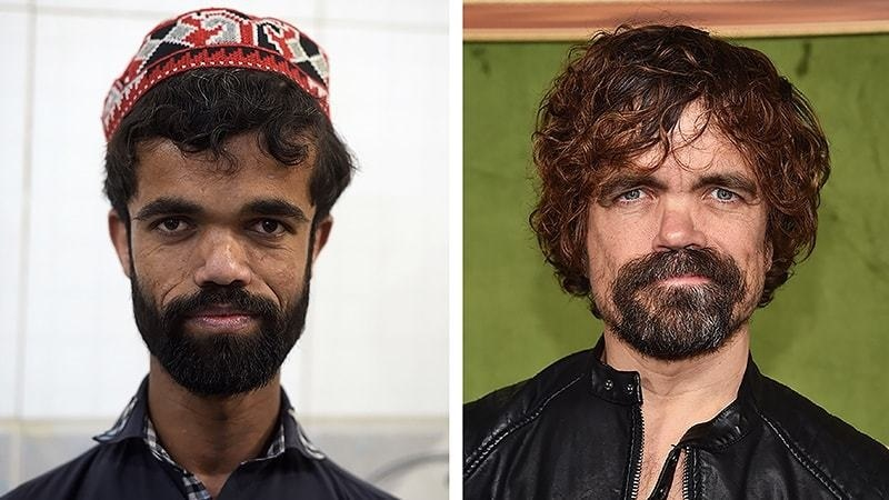 "This photo combination created on March 14, 2019 shows (L) Rozi Khan posing for a photograph at Dilbar Hotel in Rawalpindi on Feb 22, (R) US actor Peter Dinklage at the HBO premiere of ""My Dinner With Herve"" at the Paramount Studios in Los Angeles on Oct 4, 2018. — AFP"