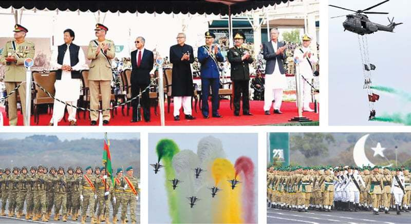 ISLAMABAD: (Clockwise) This APP image shows President Dr Arif Alvi and Prime Minister Imran Khan along with Malaysian Prime Minister Mahathir Mohamad witnessing the Pakistan Day parade on Saturday. Paratroopers present a scintillating performance during the military parade, visiting Azerbaijani troops march, Chinese J-10 fighter jets in an aerobatic mode and a contingent of women soldiers of Pakistan Army march during the parade that showcased short- and long-range missiles, tanks, jets, drones and other hardware.—Reuters/AFP/AP