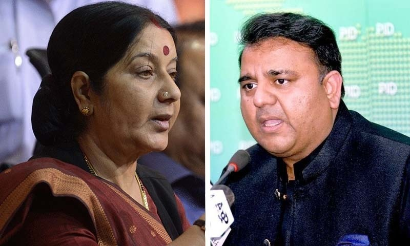 Minister for Information Fawad Chaudhry and India's Minister for External Affairs Sushma Swaraj exchanged words on Twitter on Sunday on the alleged abduction and forced conversion of the Ghotki sisters. — Dawn