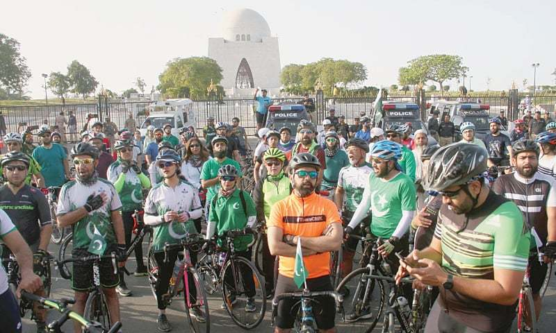 Cyclists taking part in the event arrive at the Quaid's mausoleum.—PPI