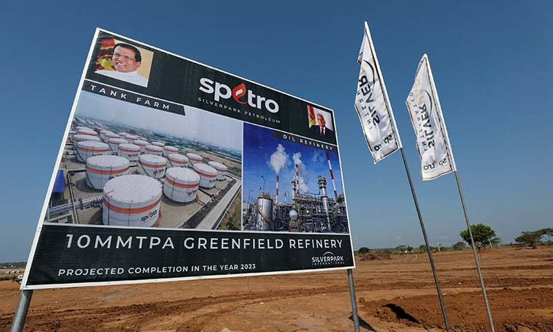 A project plan board of the $3.85 billion oil refinery project is seen during the groundbreaking ceremony in the village of Mirijjawila in Hambantota, Sri Lanka. ─ Reuters