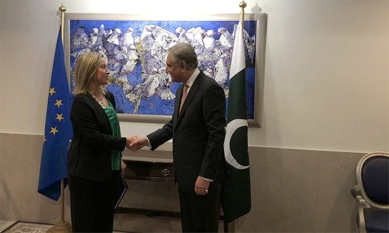 EU Foreign Policy Chief Federica Mogherini and Foreign Minister Shah Mahmood Qureshi shake hands ahead of their meeting in Islamabad. — Photo courtesy FO Spokesperson Dr Mohammad Faisal's Twitter account