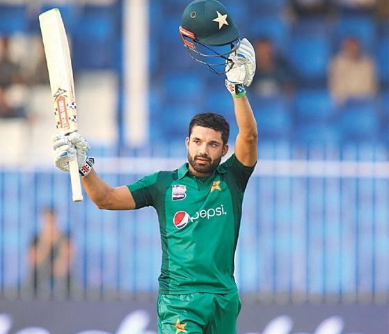 MOHAMMAD Rizwan celebrates his maiden ODI century.—Courtesy PCB