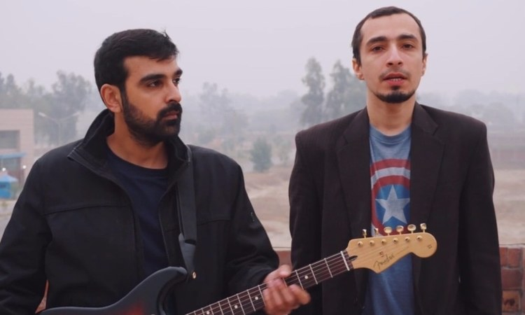 The indie band's Umer Khan (R) used his time onstage wisely to highlight the plight of marginalised communities in Pakistan