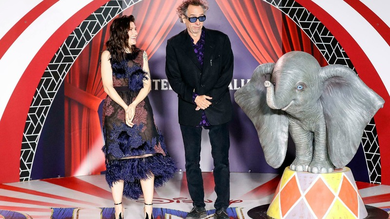 US director Tim Burton poses with Italian singer Elisa during the Italian premiere of his movie 'Dumbo' in Rome, March 26, 2019 . — AP