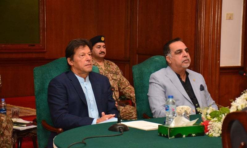 Prime Minister Imran Khan chairs a meeting of the Karachi Transformation Committee. Sindh Governor Imran Ismail also attended the meeting. — Photo courtesy: Imtiaz Ali