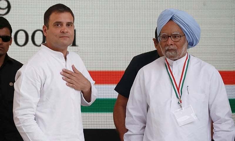 Rahul Gandhi, President of India's main opposition Congress party, and India's former Prime Minister Manmohan Singh leave after releasing their party's election manifesto for the April/May general election in New Delhi, India, April 2, 2019. — Reuters