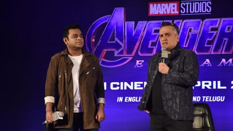 Joe Russo with AR Rahman at the press event for Avengers: Endgame