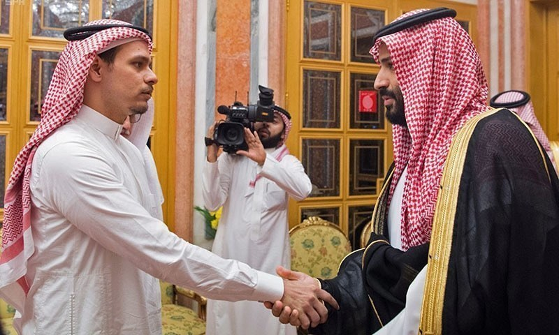 A handout picture provided by the Saudi Press Agency (SPA) on October 23, 2018, shows Saudi Crown Prince Mohammed bin Salman meeting with family members of slain journalist Jamal Khashoggi in Riyadh. — AFP/File