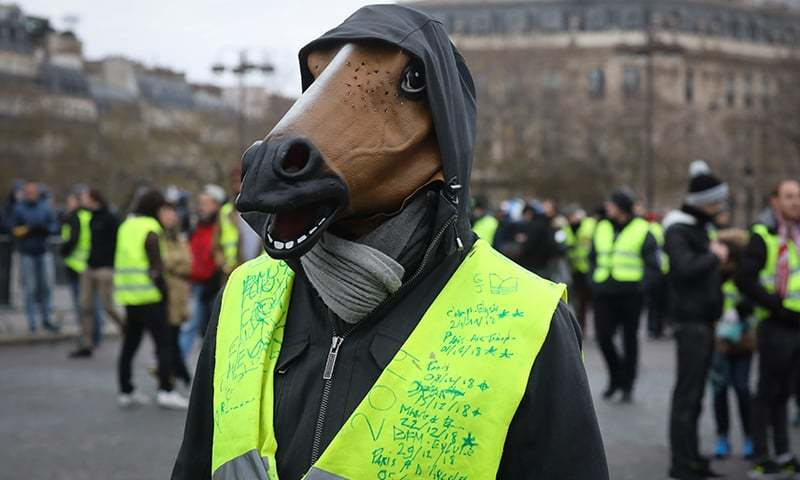 """In this file photo taken on January 12, 2019 a man wearing a mask of a horse and a yellow vest reading the dates and locations of the demonstrations he took part since the beginning of the movement, protests during an anti-government demonstration called by the Yellow Vest """"Gilets Jaunes"""" movement, on the Place de l'Etoile, in Paris. — AFP"""