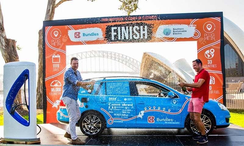 Dutchman ends 'world's longest electric car trip' in Australia