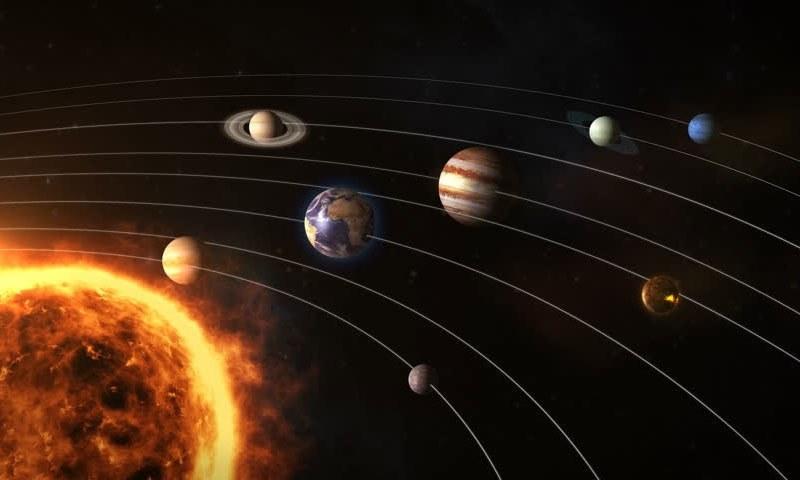 نظام شمسی کا ایک تصوراتی خاکہ — شٹر اسٹاک فوٹو