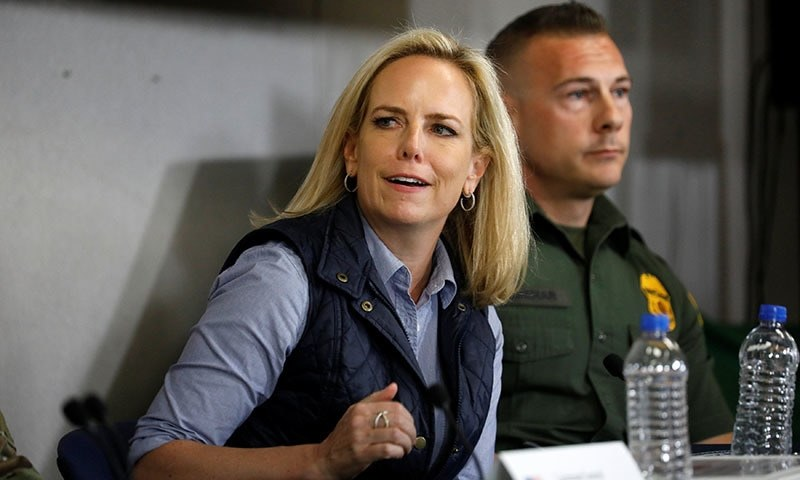 Homeland Security Secretary Kirstjen Nielsen speaks during a border security briefing held for US President Donald Trump near the US-Mexico border in El Centro, California, US on April 5, 2019. — Reuters