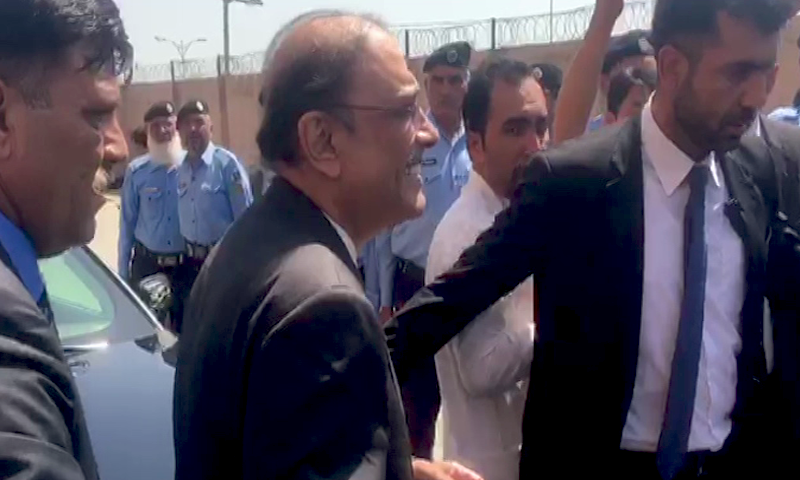PPP co-chairperson Asif Ali Zardari at an accountability court in Islamabad on Monday. — DawnNewsTV