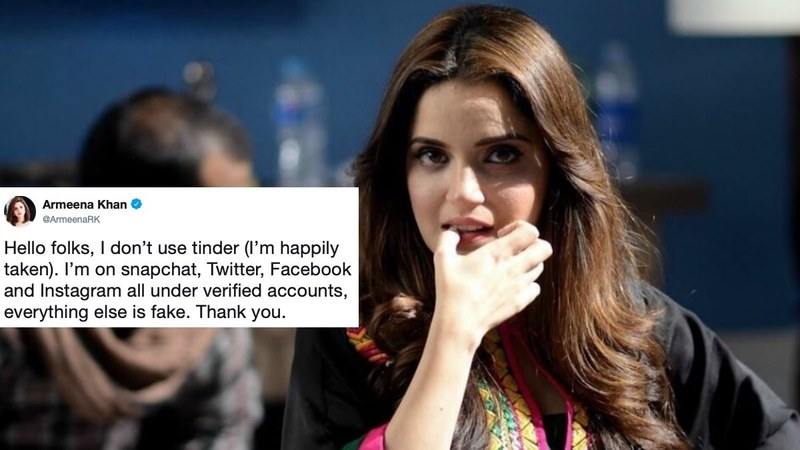 The actress tweeted about someone informing her about an imposter pretending to be her on the dating app