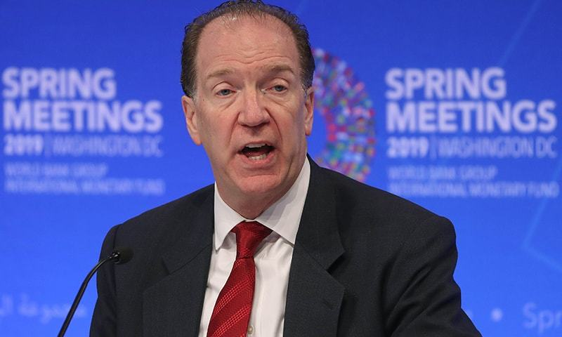 World Bank President, David Malpass, speaks during a media briefing ahead of this weekends IMF-World Bank spring meetings in Washington. ─ AFP