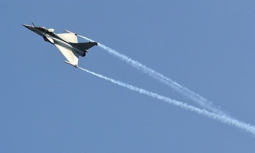 """In this file photo, a Dassault Rafale combat aircraft performs during the inauguration ceremony of """"Aero India 2013"""" at Yelahanka air force station on the outskirts of Bengaluru, India, in this February 6, 2013. — Reuters/File"""