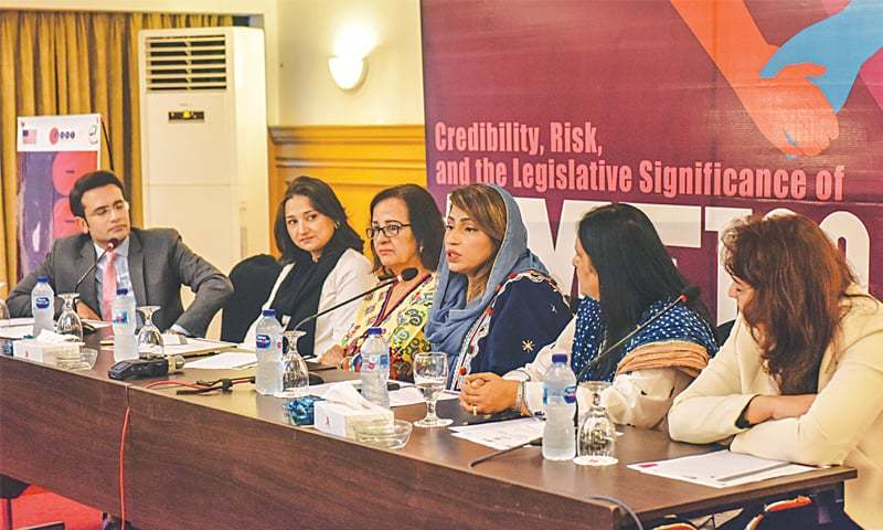 MPA Nusrat Abbasi speaks at the event on Friday.—White Star