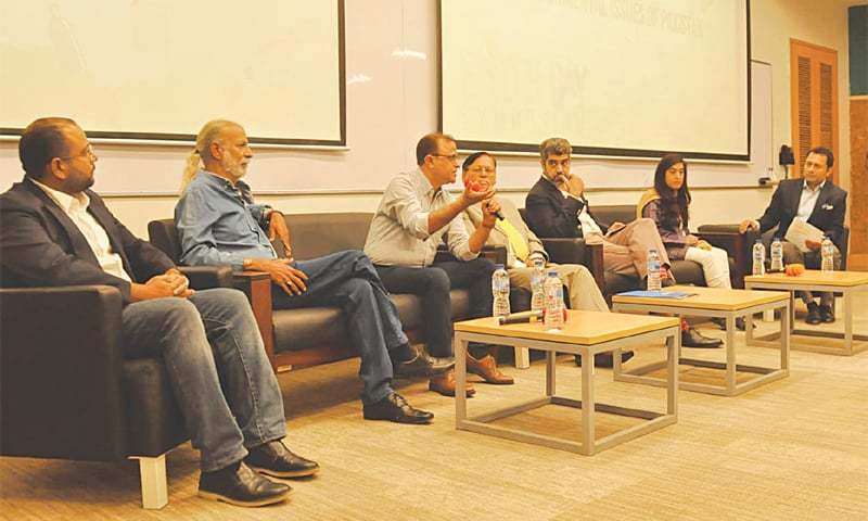 PANELLISTS discuss a point at the seminar at Habib University on Saturday.—White Star