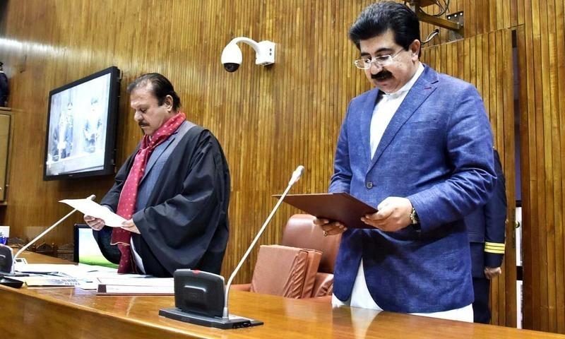 In this file photo, Sadiq Sanjrani takes oath as the new Senate chairman. — APP/File