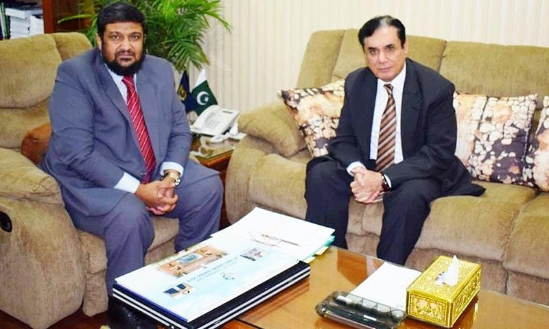NAB Chairman Javed Iqbal during his visit to NAB Lahore on Monday. — Photo courtesy: NAB