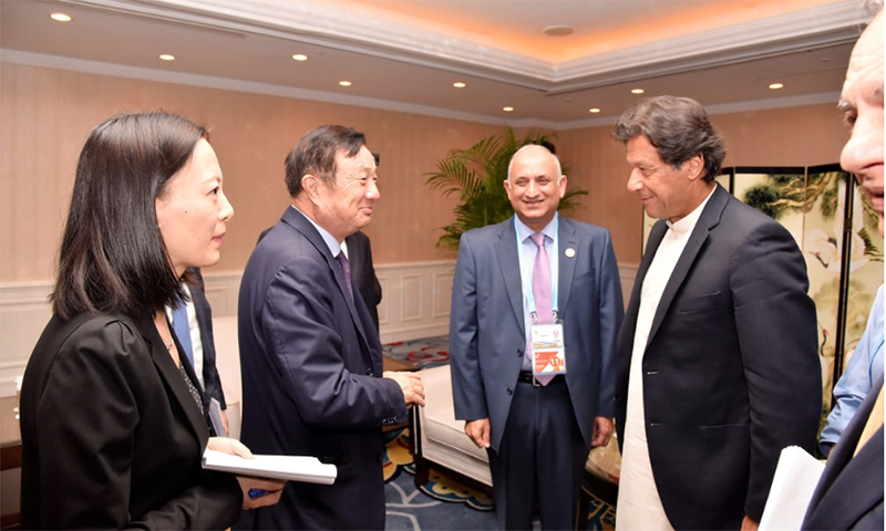 Prime Minister Imran Khan meeting Huawei CEO Ren Zhengfei in Beijing on April 28. — Ministry of Planning