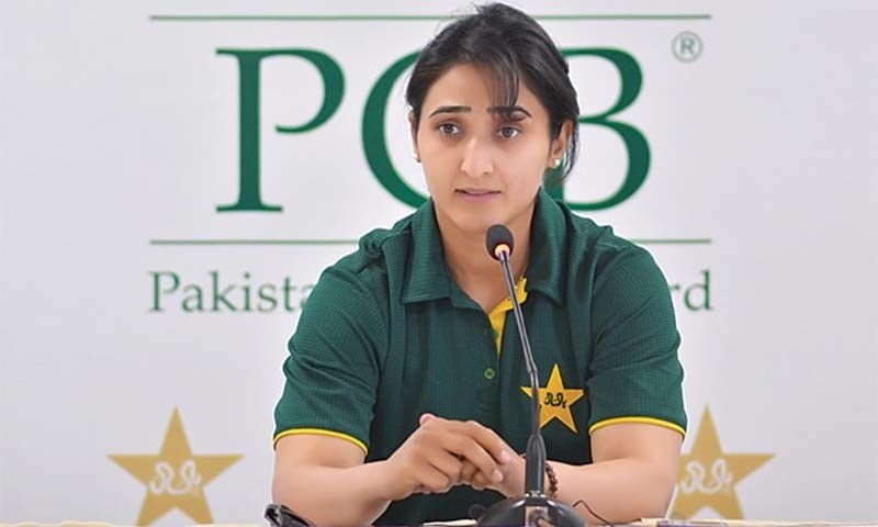 KARACHI: Pakistan women's skipper Bismah Maroof addressing a media conference at the National Stadium on Sunday.—Courtesy PCB