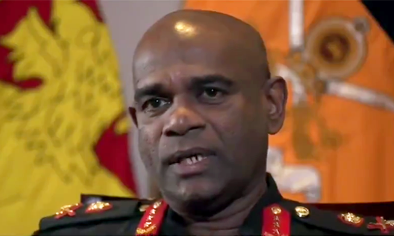 Lieutenant General Mahesh Senanayake of the Sri Lankan Army in an interview with BBC. — Photo courtesy: Secunder Kermani's Twitter account