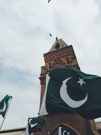 An older picture of the market tower during 14th August celebrations