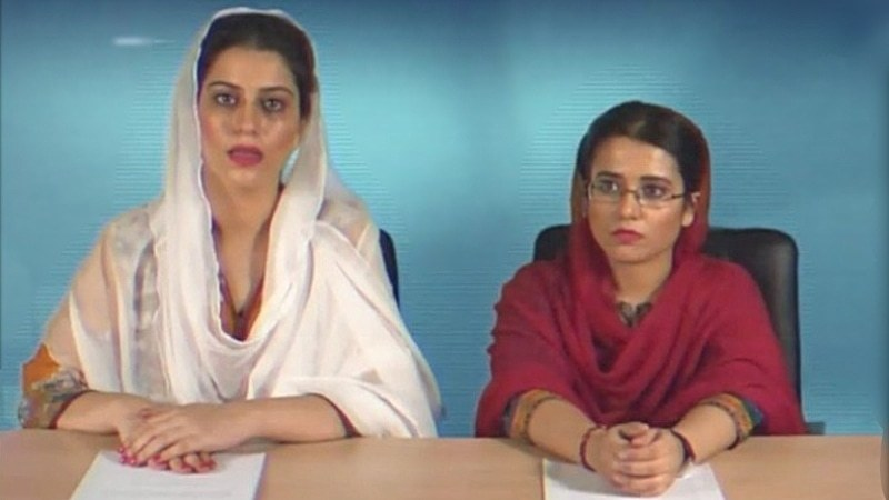 Natasha and Zahra are reading news on PTV in this music video