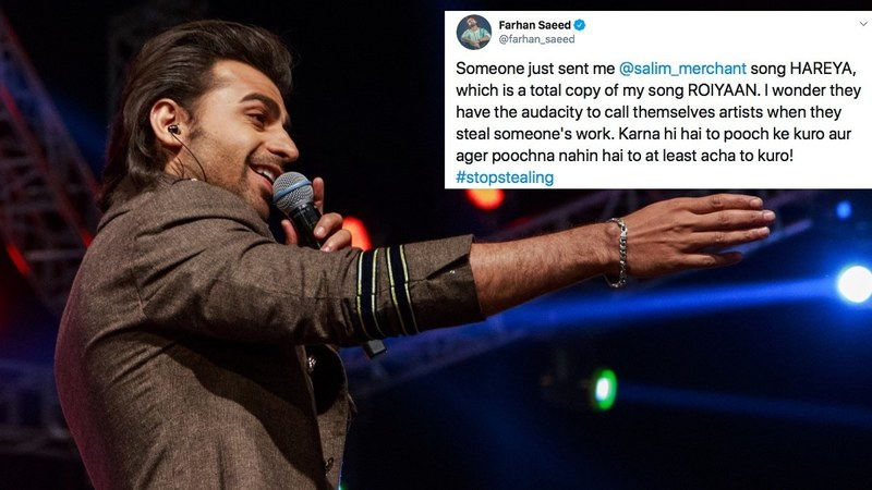 According to Saeed, Merchant's track, Hareya is a copy of his song, Roiyaan; the composer is calling it a coincidence.