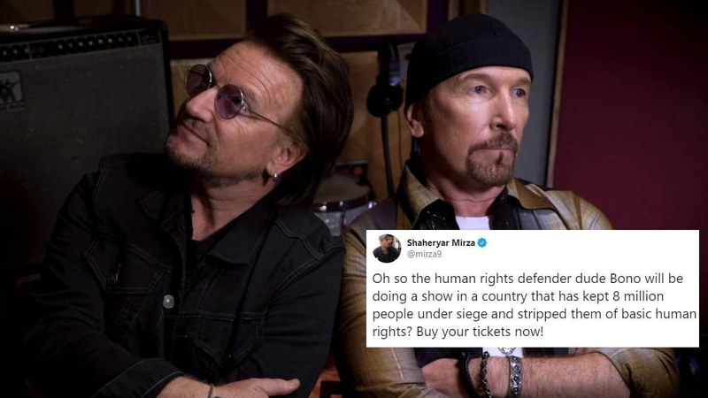 People on Twitter urged the Irish rock band to reconsider their decision in light of what's happening in Kashmir.