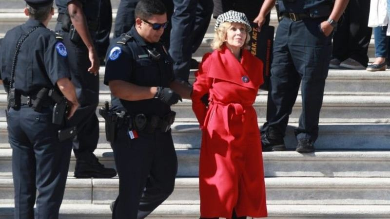 "Fonda was one of 16 people arrested for unlawfully protesting and charged with ""crowding, obstructing or incommoding."""
